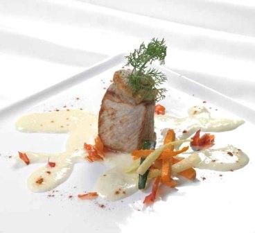 Filetto di maialino, lardo gratinato e crema di Taleggio