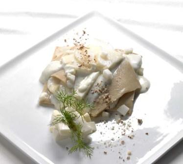 Lasagnette alle castagne con crema di Taleggio  e pere